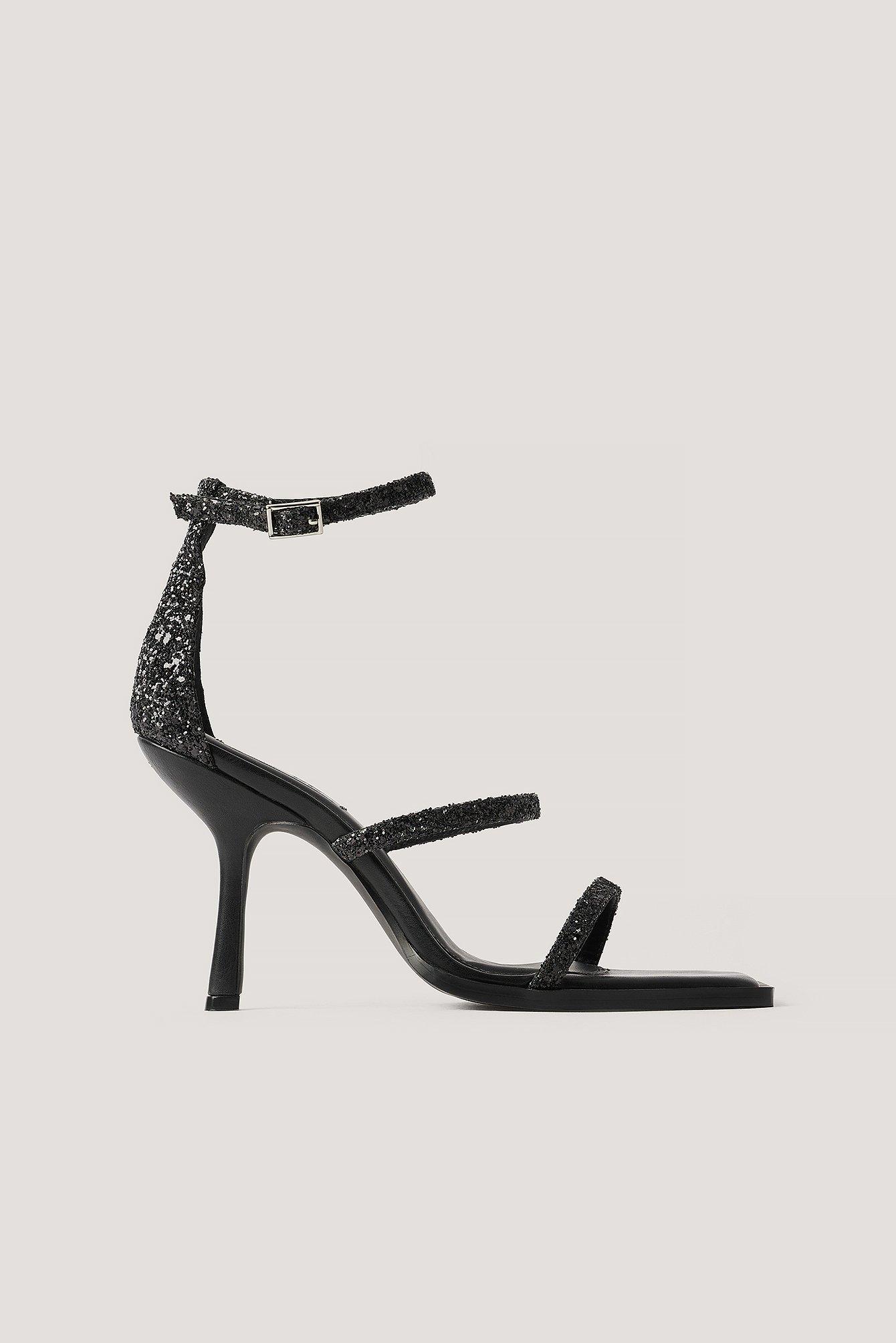 na-kd shoes -  Absatzsandalen Mit Glitzer - Black