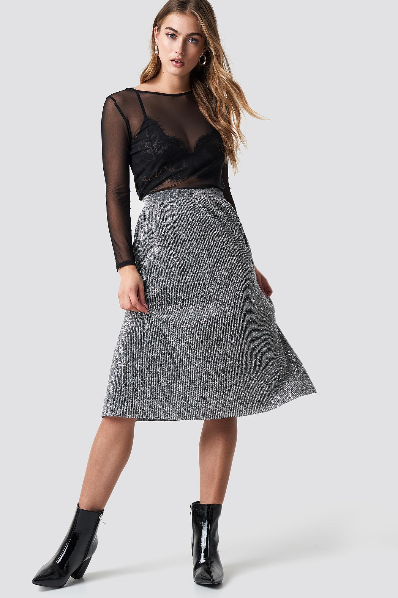 na-kd party -  Glitter Midi Skirt - Silver