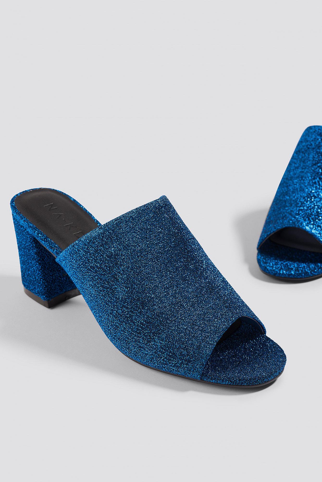 na-kd shoes -  Glitter Mule Heel Sandals - Blue