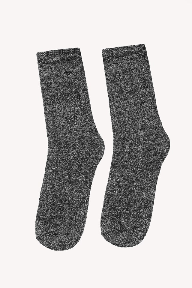 Glitter Socks Black/Silver