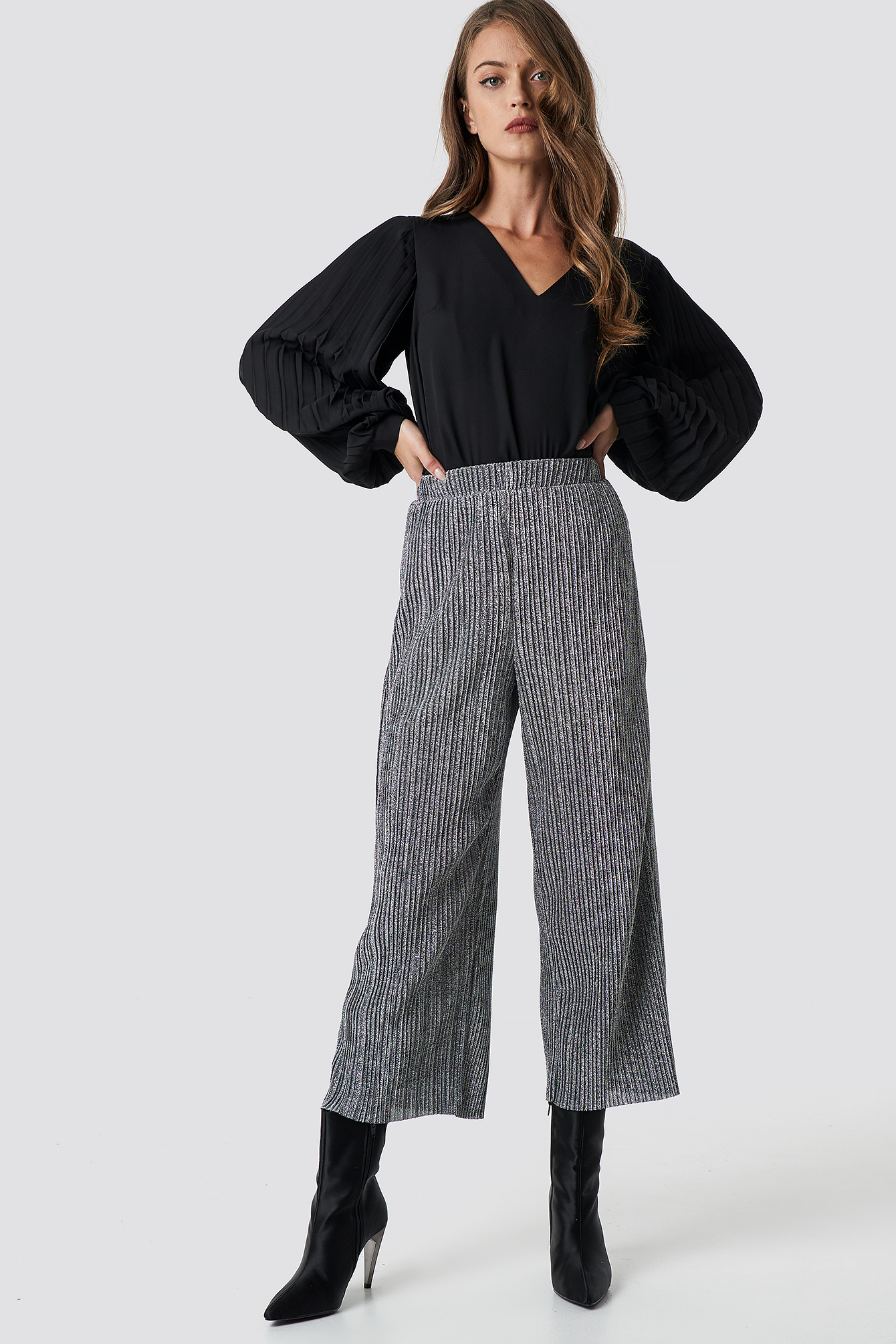 Culottes Glittery Glittery Culottes Na Pleated Silver Silver Pleated Na xY4q7pnwRz