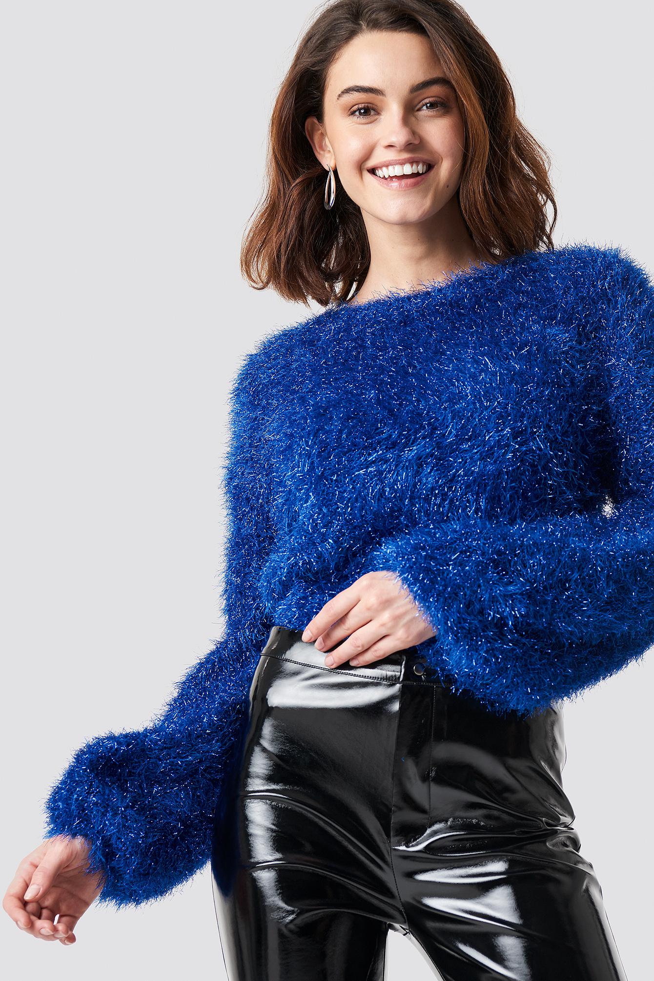 na-kd party -  Glittery Balloon Sleeve Sweater - Blue