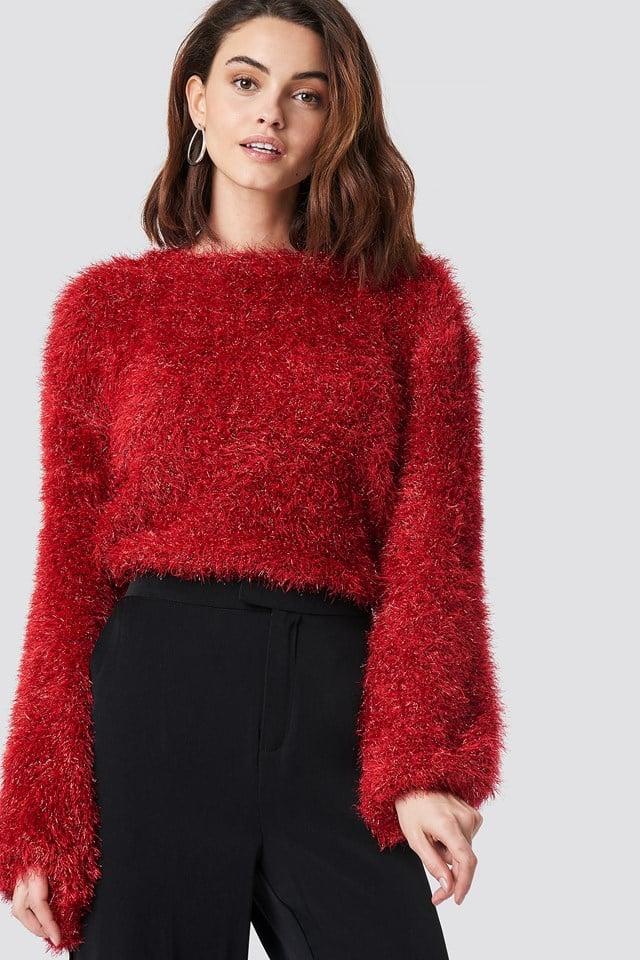 Glittery Balloon Sleeve Sweater Red