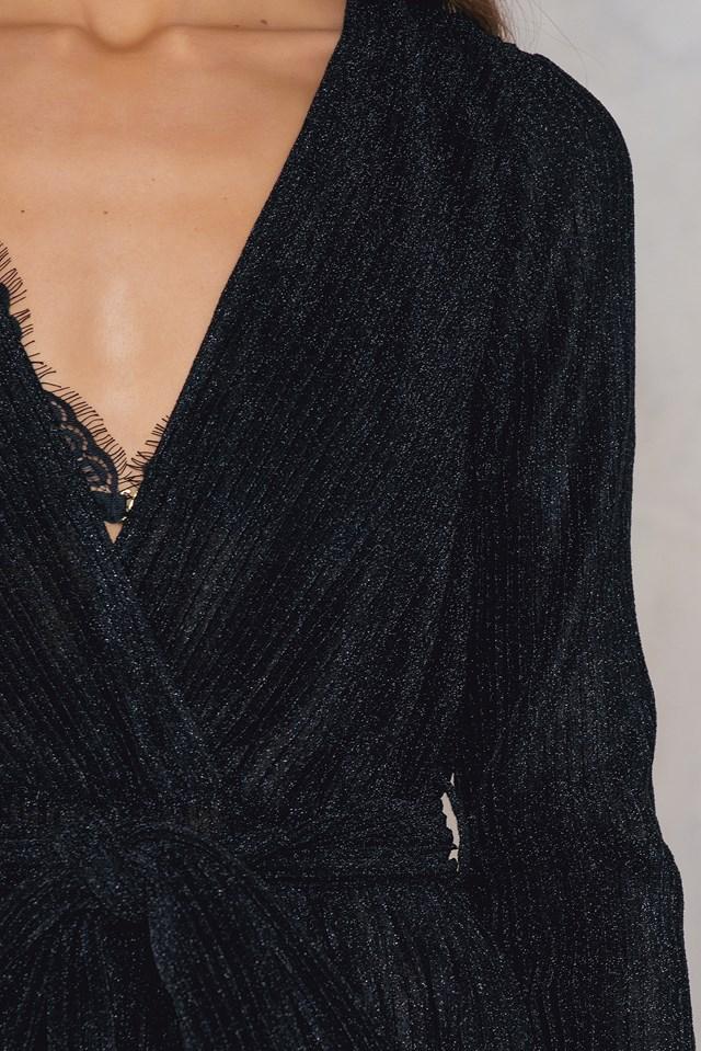 Glittery Deep Neck Jumpsuit Black