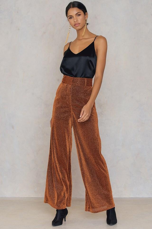 Glittery Flared Trousers Copper
