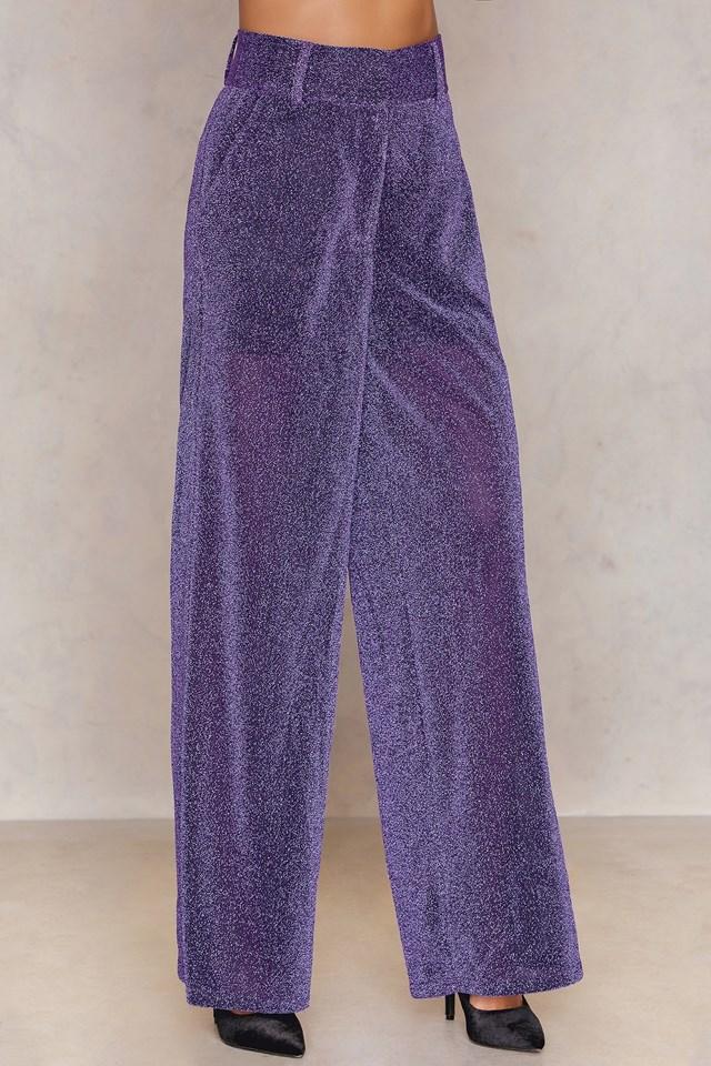 Glittery Flared Trousers NA-KD.COM