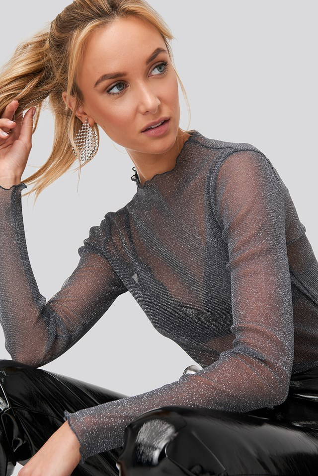 Glittery High Neck Mesh Top Silver