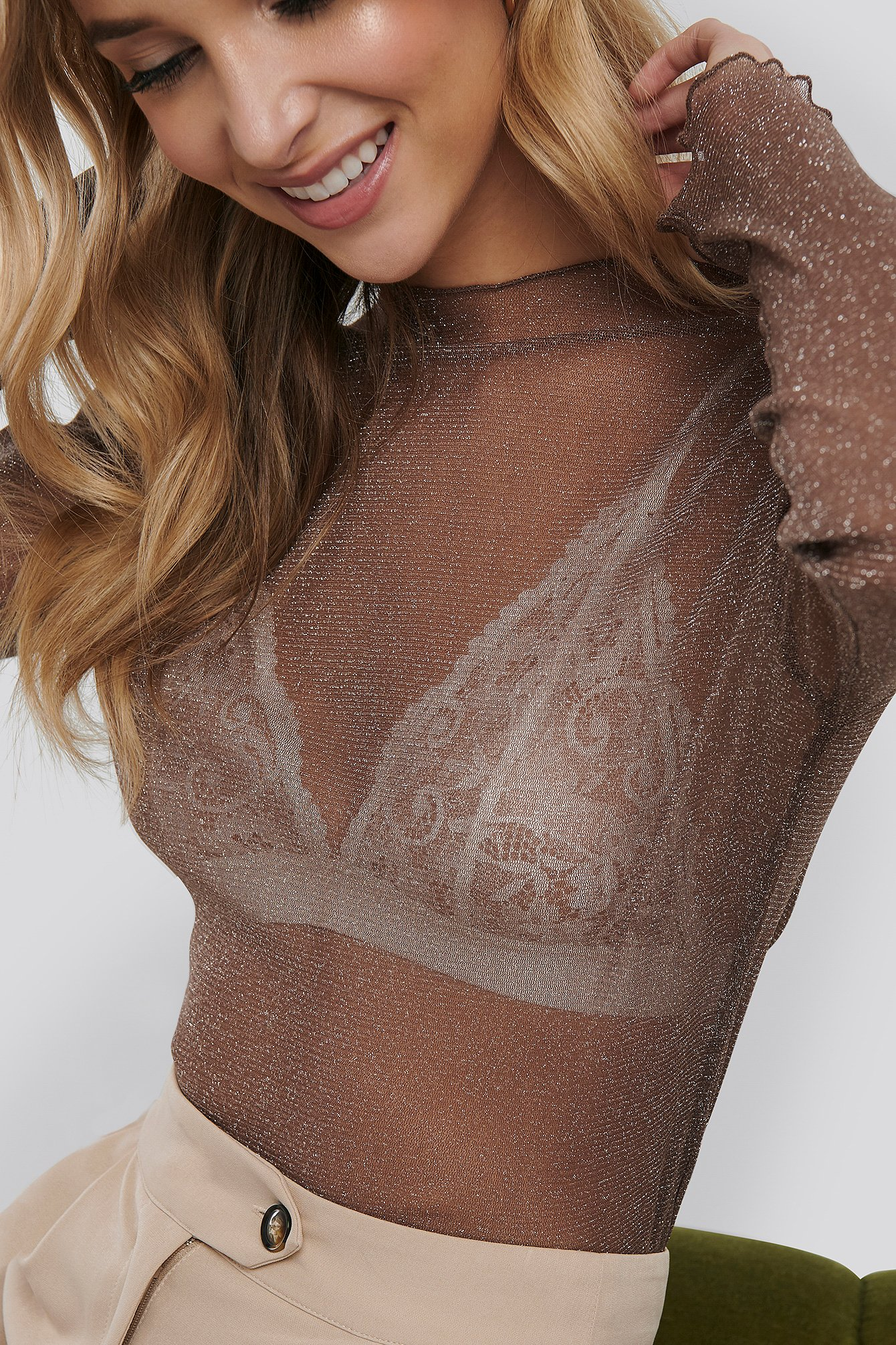 Khaki Glittery High Neck Mesh Top