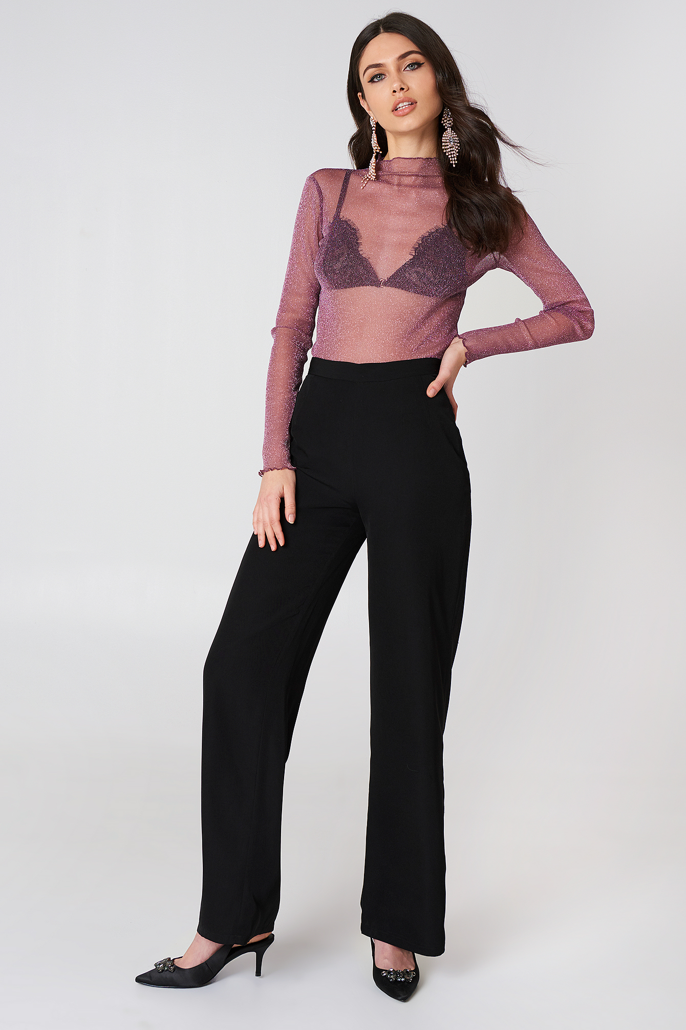 Glittery High Neck Mesh Top NA-KD.COM