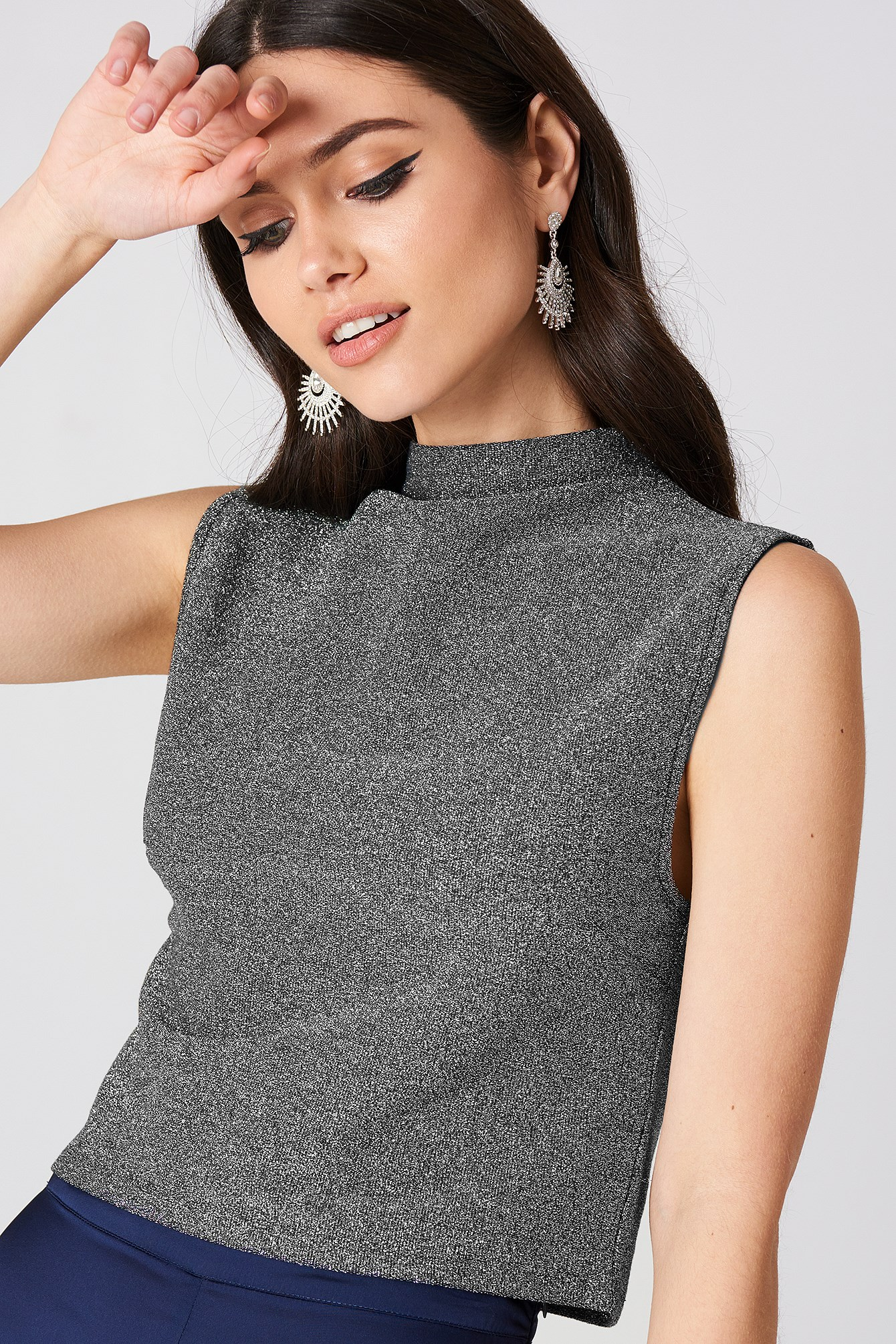 Glittery High Neck Top NA-KD.COM