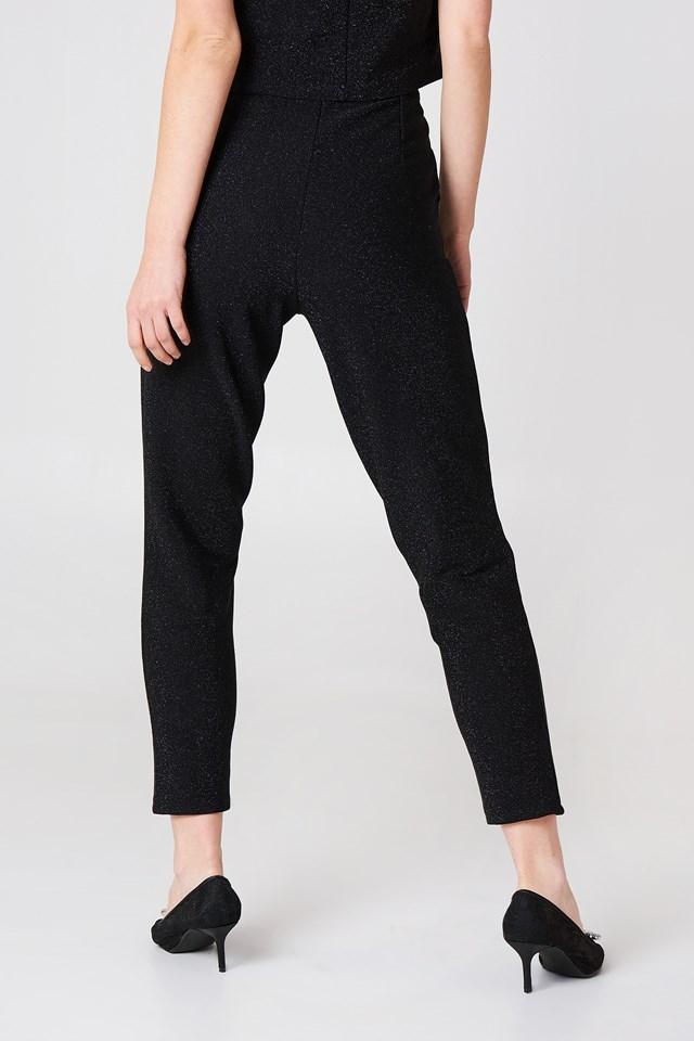 Glittery Highwaist Trousers Black