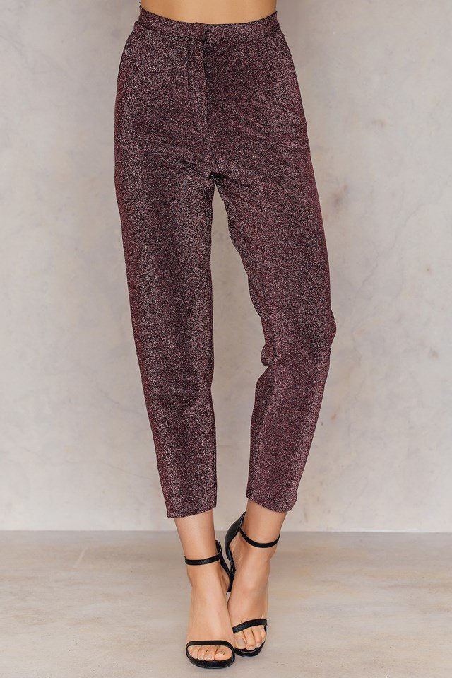 Glittery Highwaist Trousers Pink