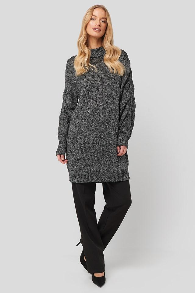 Glittery Knitted Long Sweater Black
