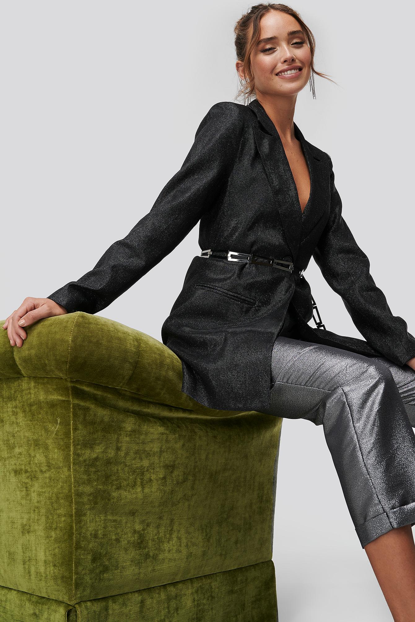 NA-KD Party Glittery Long Blazer - Black   Bekleidung > Blazer > Longblazer   NA-KD Party