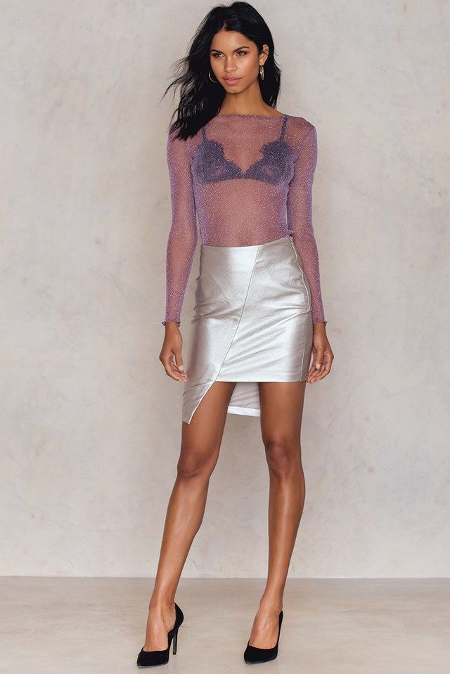 Glittery Mesh Top Lilac