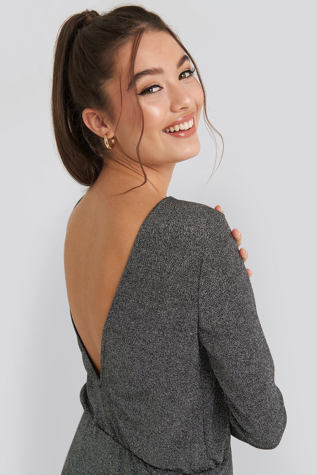 na-kd party -  Glittery Open Back Mini Dress - Silver