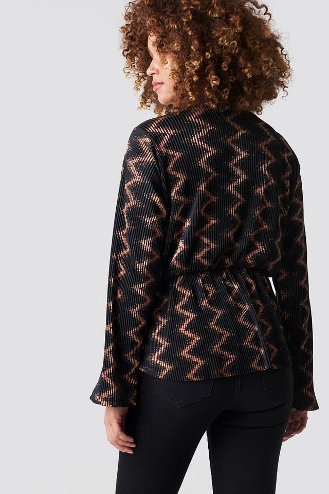 Glittery Pattern Long Sleeve Top Black