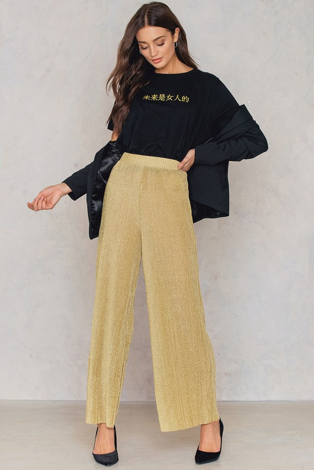 Glittery Pleated Pants Light Gold