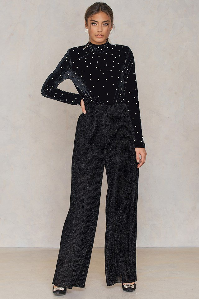 Glittery Pleated Pants Black