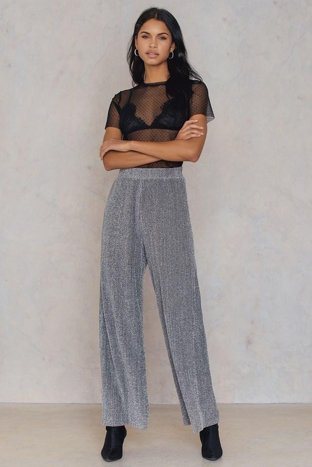 Plisowane spodnie z brokatem Silver