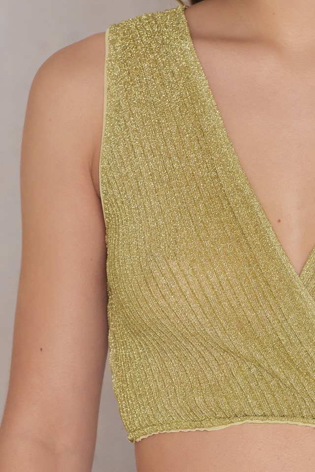 Glittery Pleated Cropped Top Light Gold