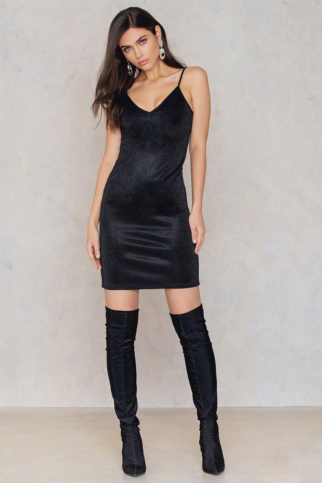 Glittery Slip Dress Black