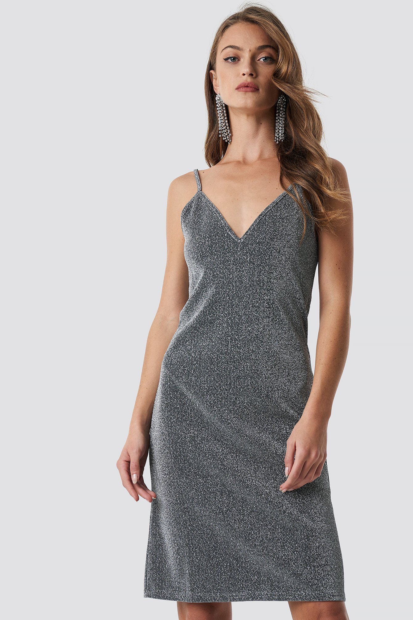 Glittery Slip Dress Silver NA-KD Party