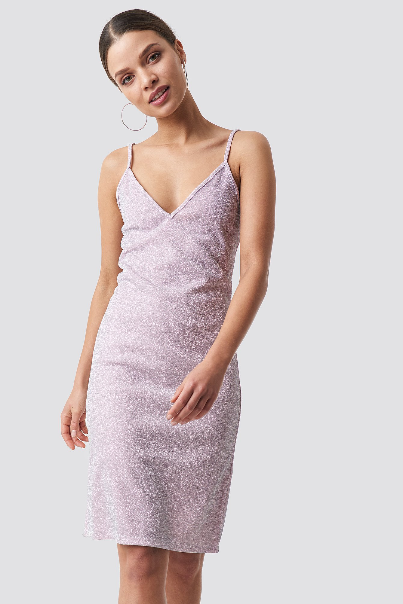 Glittery Slip Dress Pink NA-KD Party