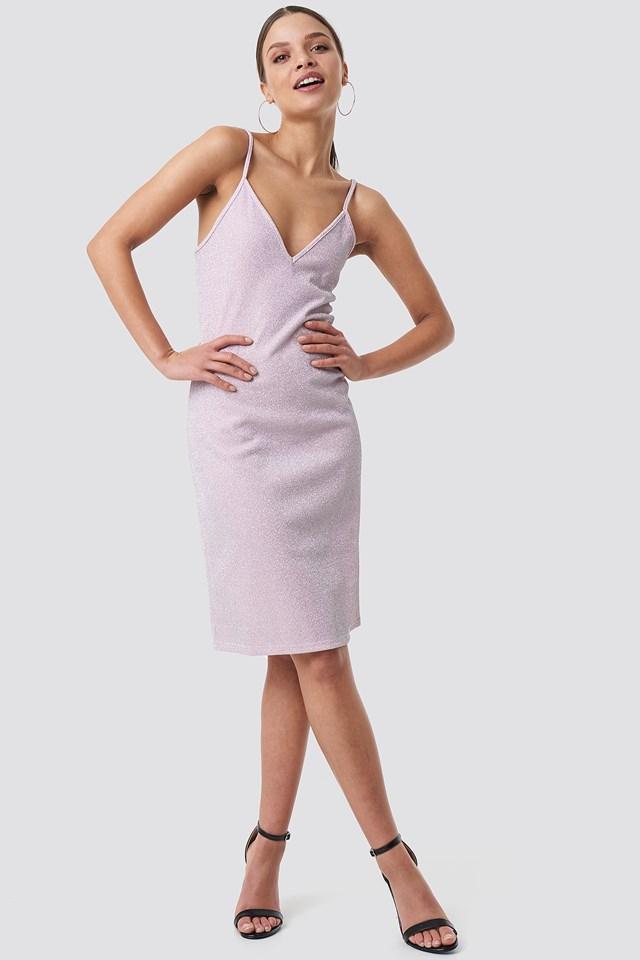 Glittery Slip Dress Pink