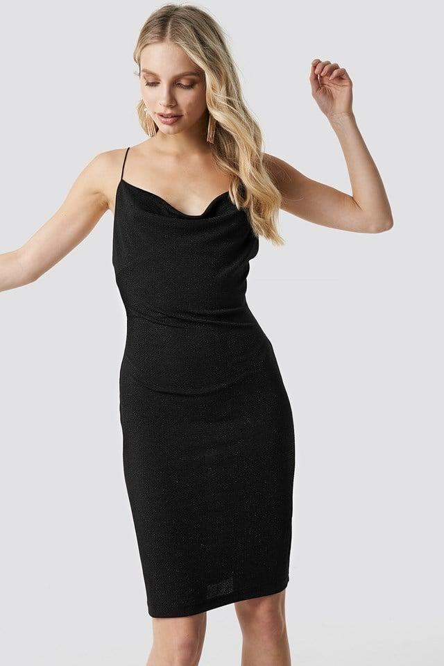 Glittery Spaghetti Strap Dress Black