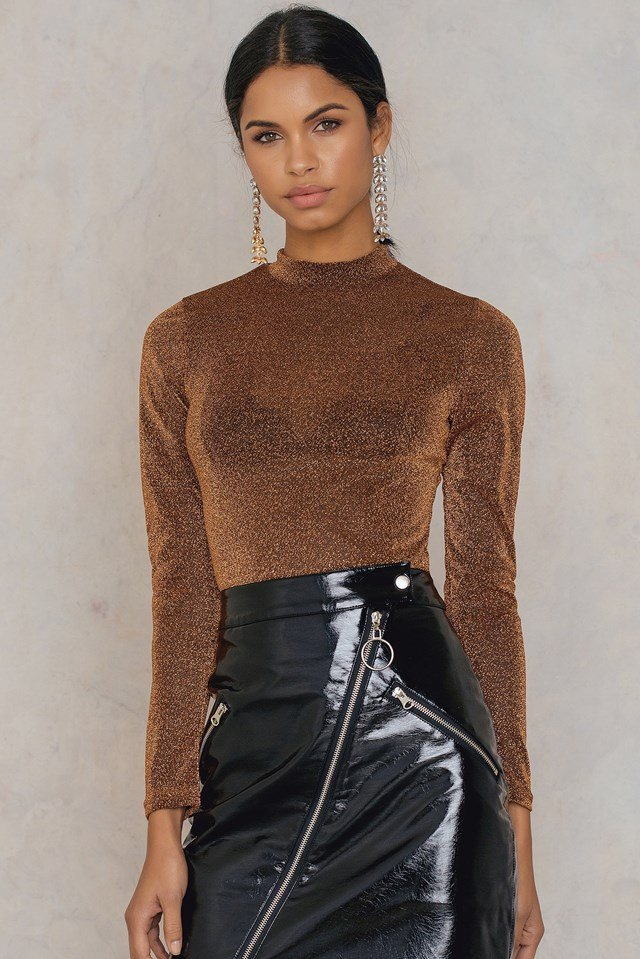 Glittery Turtleneck Top Copper