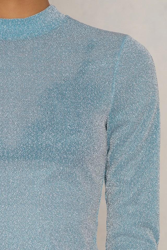 Glittery Turtleneck Top Light Blue