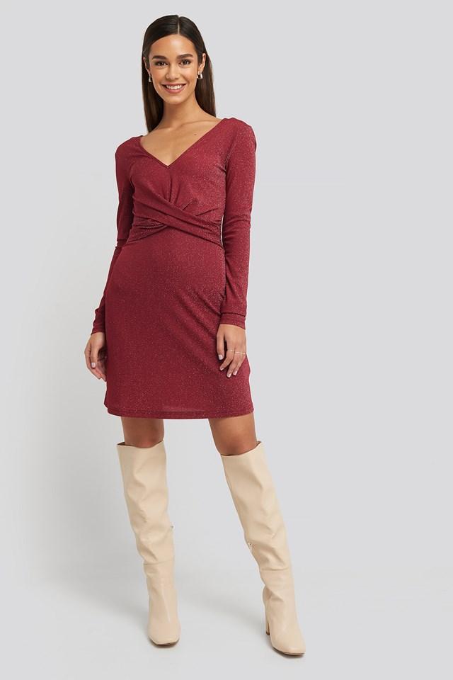 Glittery V-neck Dress Red