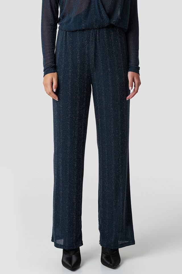 Glittery Wide Pants Blue