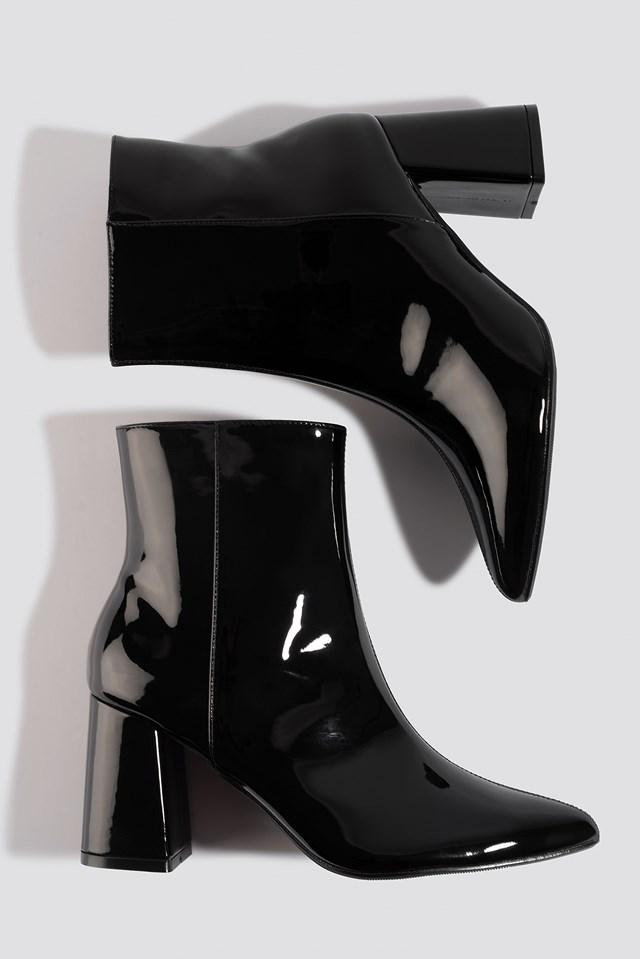 Glossy Patent Boots Black