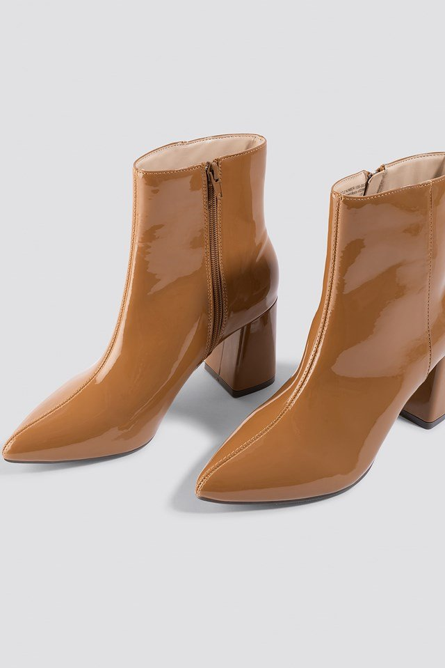 Glossy Patent Boots Cognac