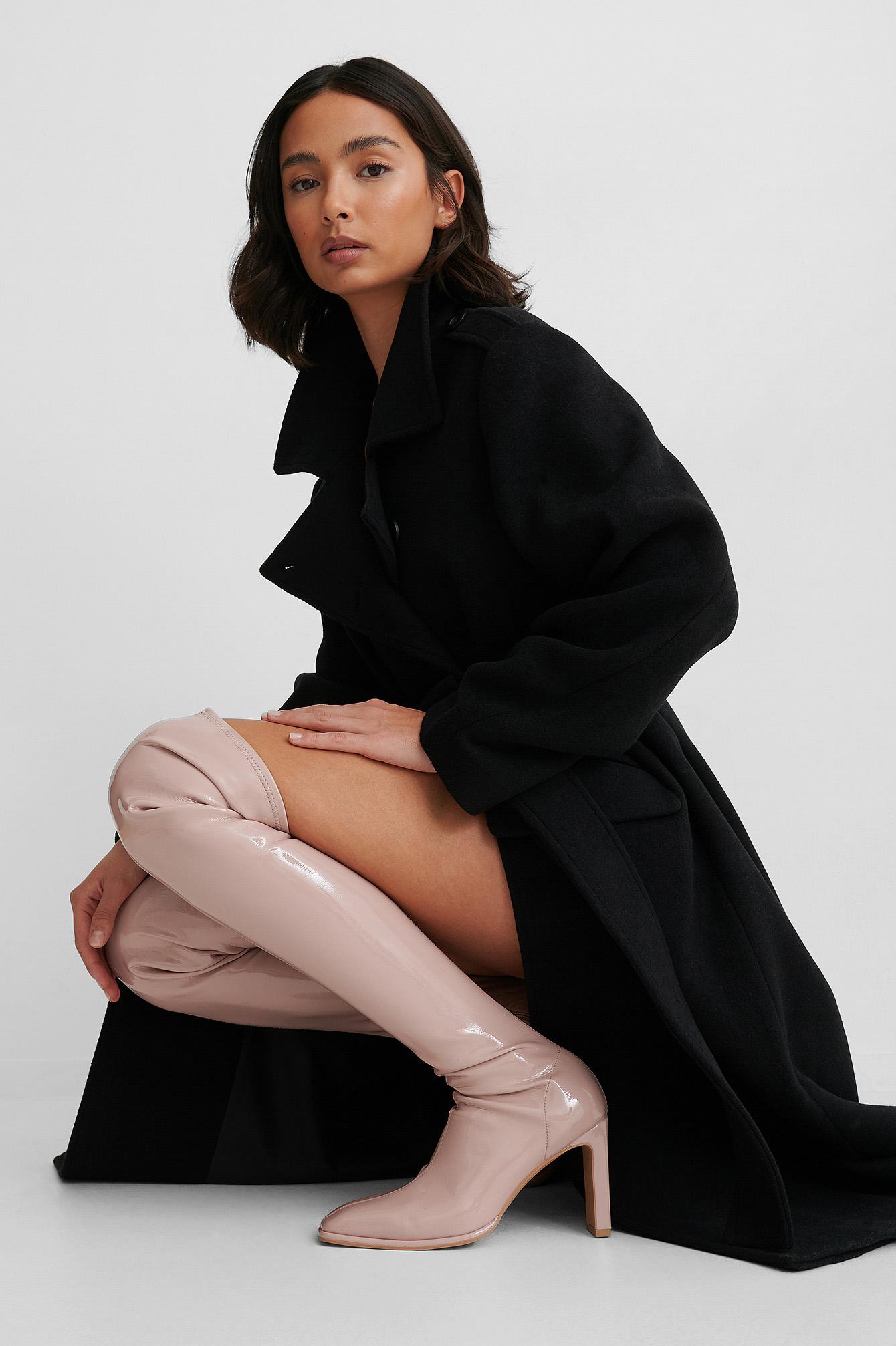 na-kd shoes -  Overknee-Stiefel Aus Glänzendem Lackleder - Pink