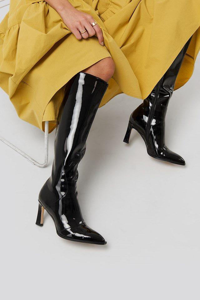 Glossy Patent Shaft Boots Black