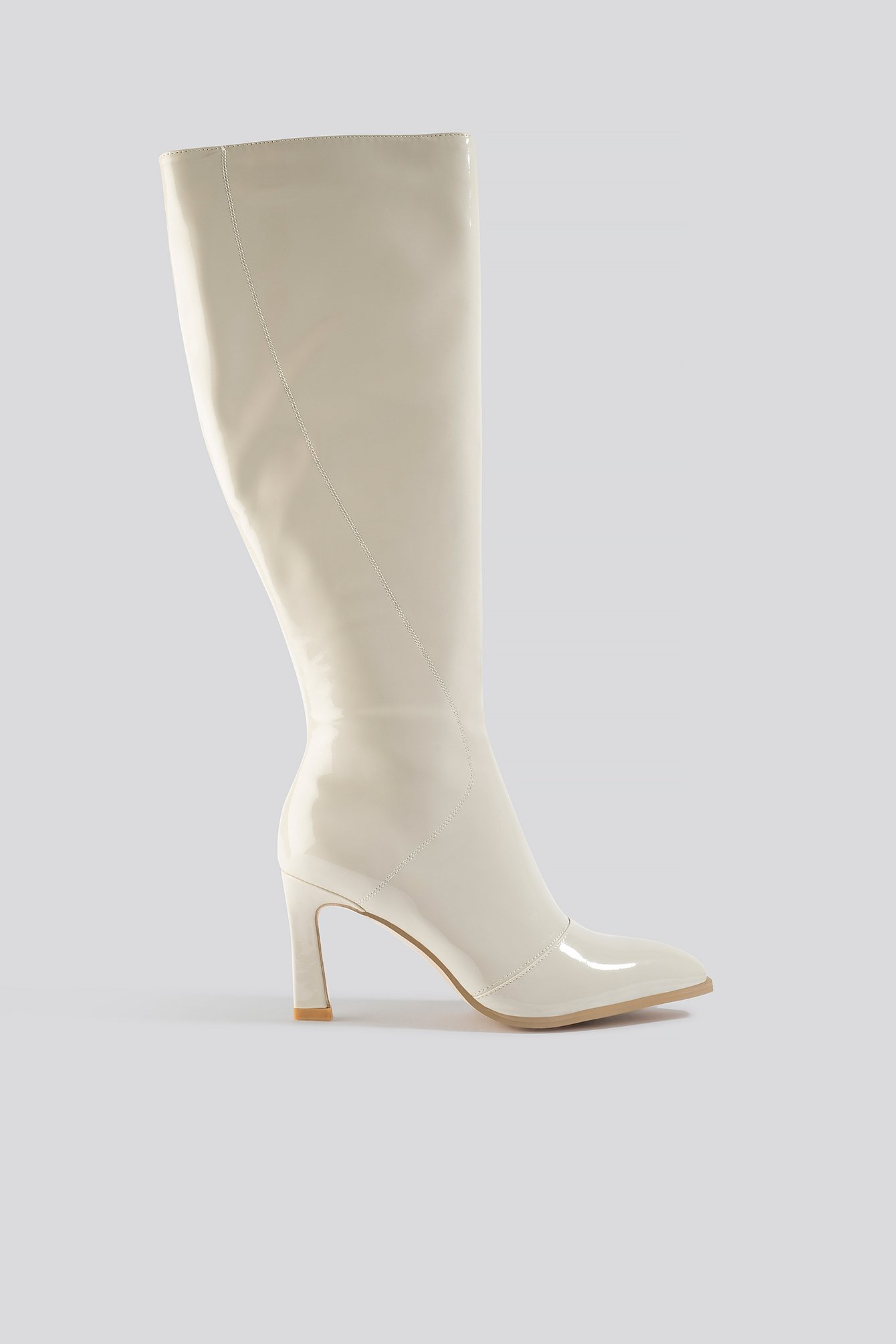 na-kd shoes -  Glossy Patent Shaft Boots - White