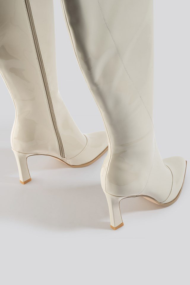 Glossy Patent Shaft Boots Nude