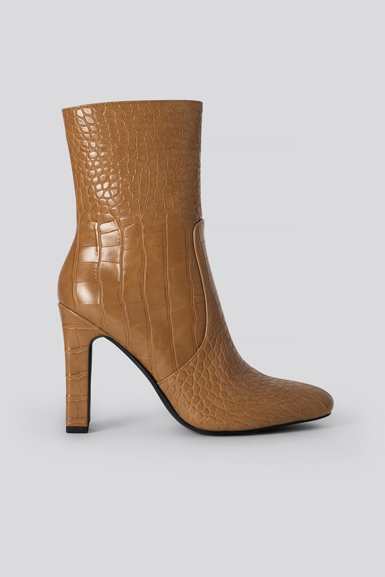 na-kd shoes -  Glossy Reptile Booties - Brown