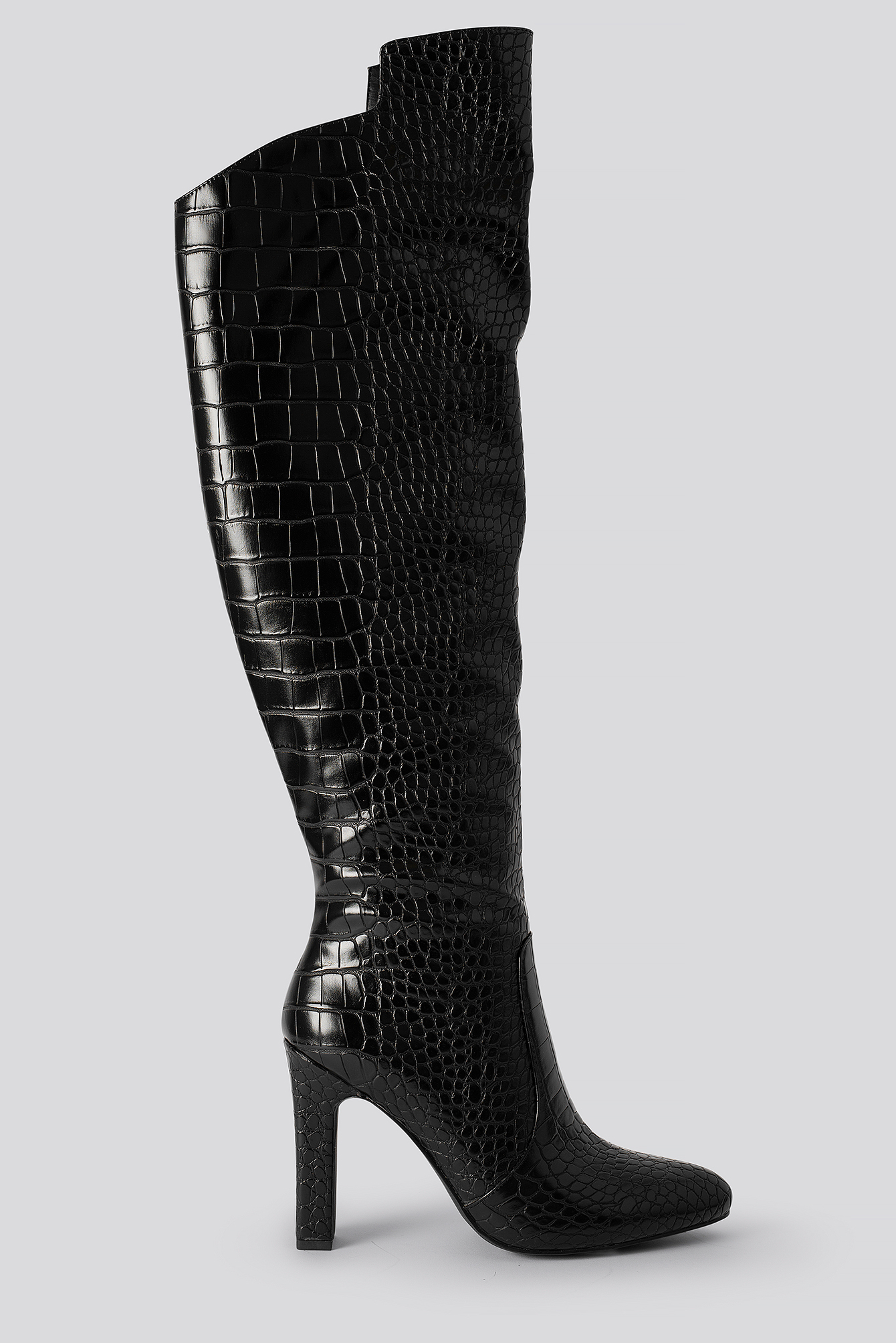 na-kd shoes -  Glossy Reptile Overknee Boots - Black