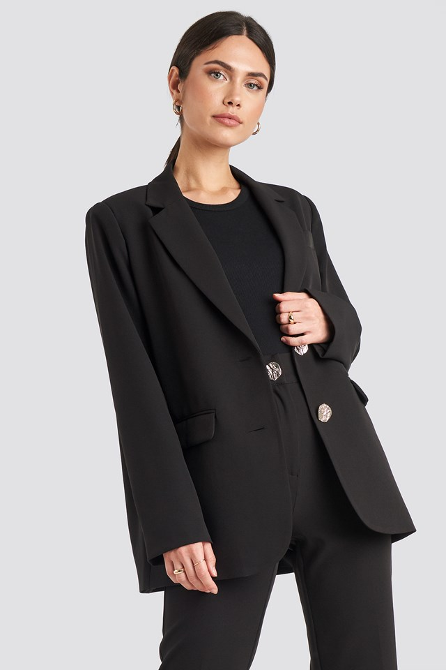 Gold Button Oversized Blazer Black