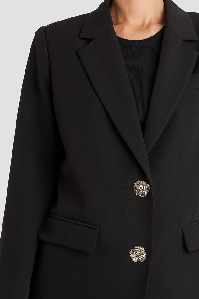 Gold Button Oversized Blazer Black