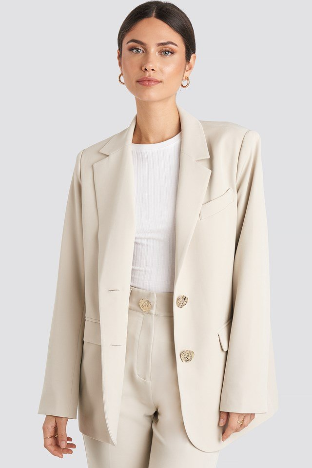 Gold Button Oversized Blazer Offwhite