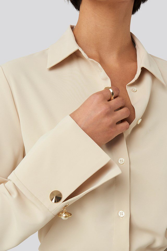 Gold Detail Blouse Sand