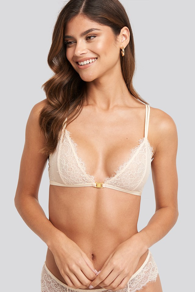 Gold Detail Lace Bra Cream