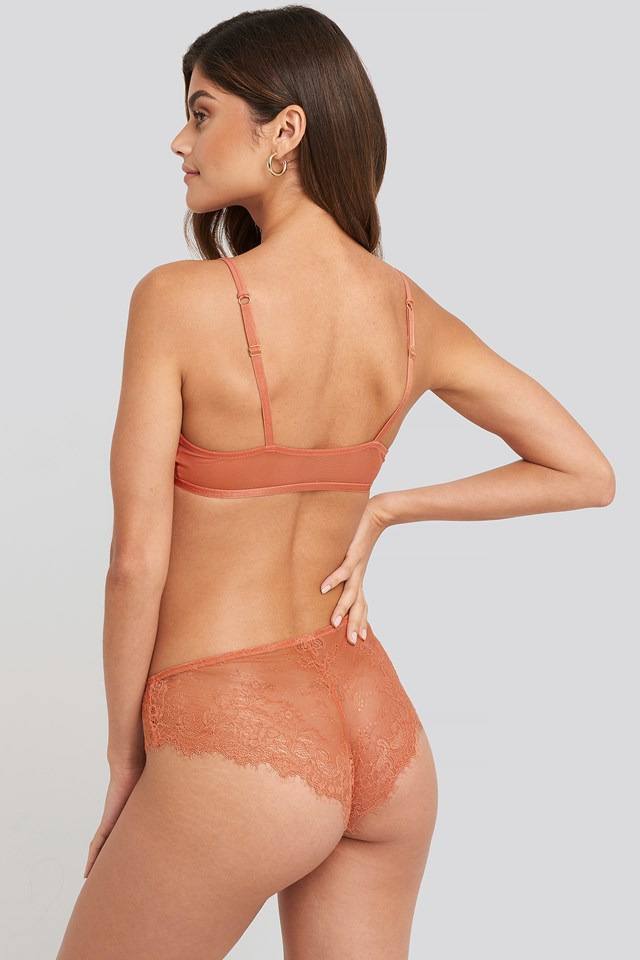 Gold Detail Lace Bra Pink Terracotta