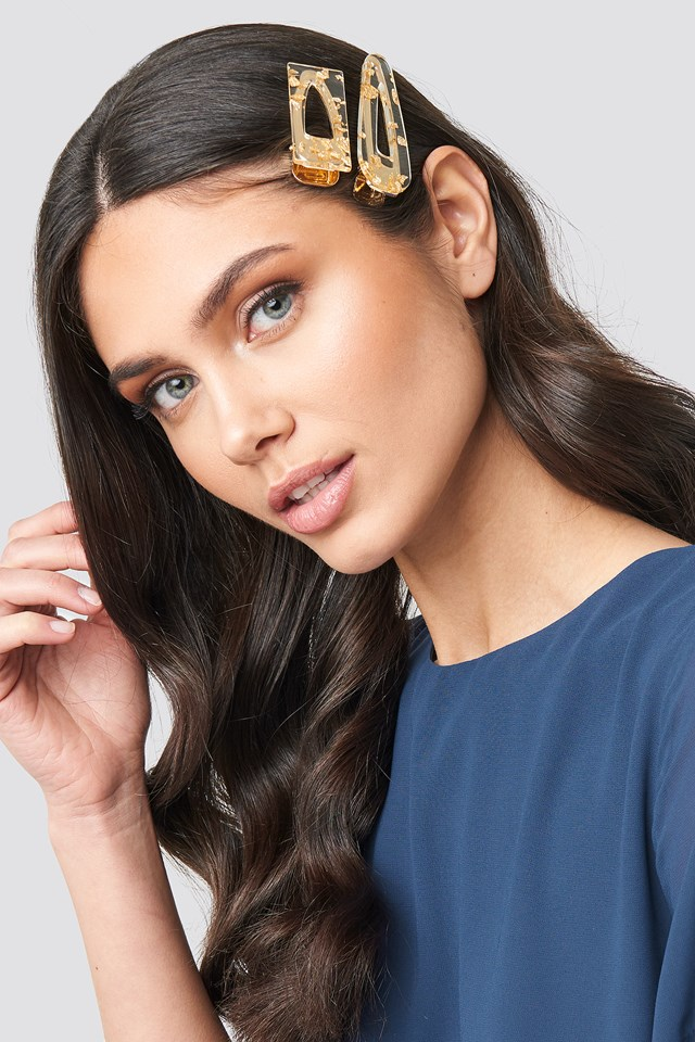 Gold Flakes Hair Clips NA-KD.COM