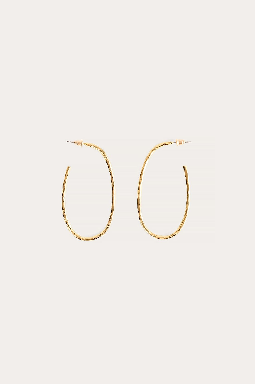 Gold Gold Plated Oval Hammered Hoops